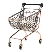 B Blesiya Metal Multi-layer Supermarket Shopping Hand Trolley Cart for Kids Pretend Play Toy Playset Activity Game - Bronze