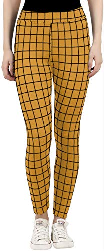 FABRICS CLOUD Women's/Girl's Check Pattern Ankle Length Jeggings/Trouser/Pants - Free Size (Mustard)