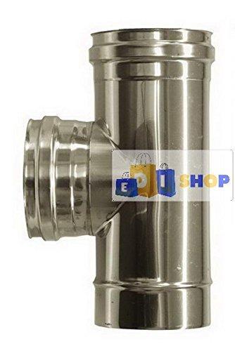 CHEMINEE PAROI SIMPLE TUYAU TUBE INOXIDABLE AISI 316 - dn 150 raccordo a tee 90° femmina canna fumaria tubo acciaio inox 316 parete semplice