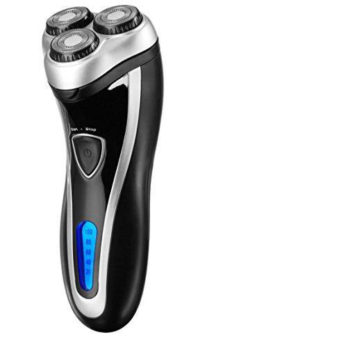 MEDION MD 16622 elektrischer Nass- und Trockenrasierer mit 3 Kopf Rotationsrasierer mit edelstahl Messer, Haartrimmer, Schnelladung, schwarz