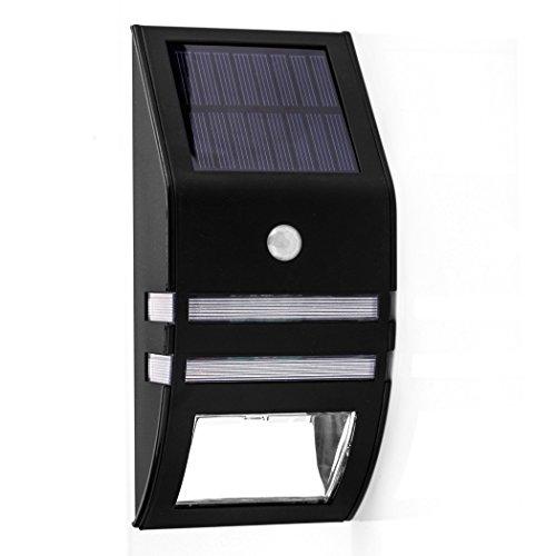 B-right® Solar Wandleuchte Lichtsteuerung Treppenleuchten, 3000K,Warmweiß außen Solarleuchten Außenleuchte Menschliche Sensor-Leuchten, Schwarz. Eine-Jahre-Garantie