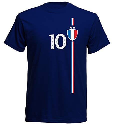 aprom Frankreich Kinder T-Shirt Trikot Kids France WM EM Fussball Sport St-1 Fan Supporter, Blau, 116