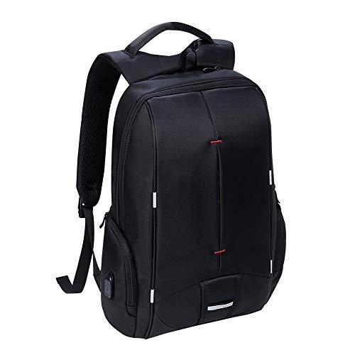KALIDI- Laptop Mochila para Hombres, Mochilas para Ordenador Portátiles y Netbooks 15,6 Pulgadas, Mochilas Masculino Impermeables de Escuela de Negocios con Puerto de USB, Negro