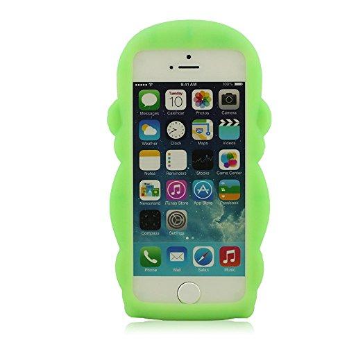 Pur 100% Silicone Coque, Mignon Singe Forme Modélisation Coque Design for iPhone 5 5S 5C 5G + HD Protective Film, Prime Souple Étui de protection, Coque pour iPhone 5, étui pour iPhone 5S, Case pour i Vert