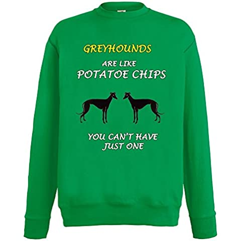 Dogs are like Chips Collezione 1, Fruit of the Loom Verde Prato Mens Sweatshirt Uomo (Greyhound Dog Stampa)