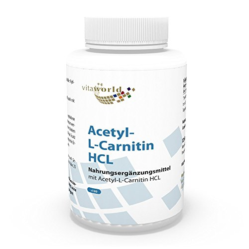 41hh8Ct5FQL. SS500  - Vita World Acetyl L-carnitine 1000 mg each capsule 120 Capsules high Bioavailability Made in Germany