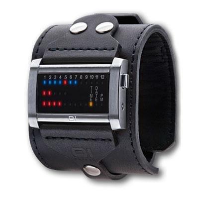 The One - Reloj digital de cuarzo para hombre con correa de piel, color negro