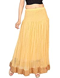 Carrel Chiffon Fabric Women Solid Long Skirt(AGSPL-3189-AXY-SK)