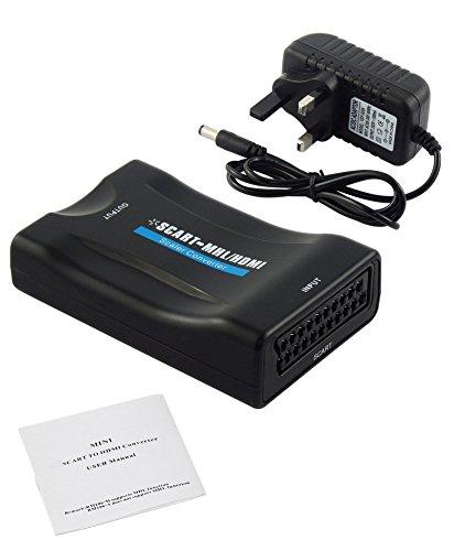Proster SCART zu HDMI Konverter Adapter 1080P SCART zu HDMI Adapter Scart Eingang HDMI Ausgang Adapter für SKY Blu-Ray Player HDTV DVD Digital-audio-hdtv-dvd-player