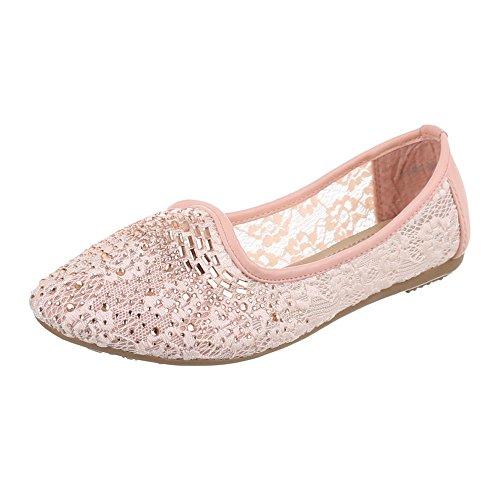 Damen Schuhe, A-125, BALLERINAS, PUMPS MIT STRASS DEKO, Synthetik und Lederoptik, Rosa, Gr 38 (Damen-schuhe Ebay)