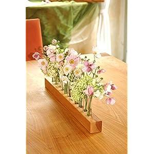Blumenvase aus Holz und Glas - Blumenwiese