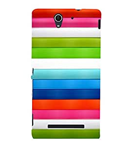 printtech Colored Lines Back Case Cover for Sony Xperia C3 Dual D2502::Sony Xperia C3 D2533