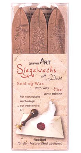 gravurART - flexibles Siegelwachs mit Docht in bronze, 3 Stangen