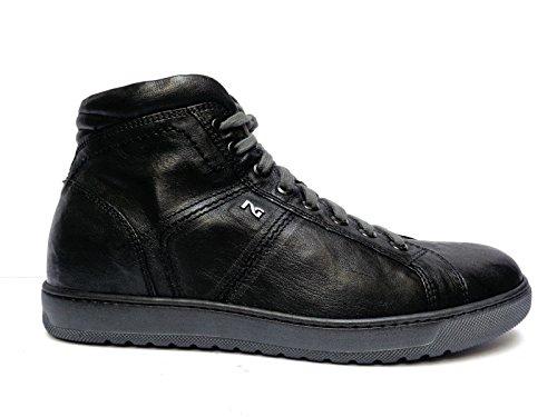 Nero Giardini sneakers alte da uomo in pelle col. Nero lacci + cerniera,n. 41