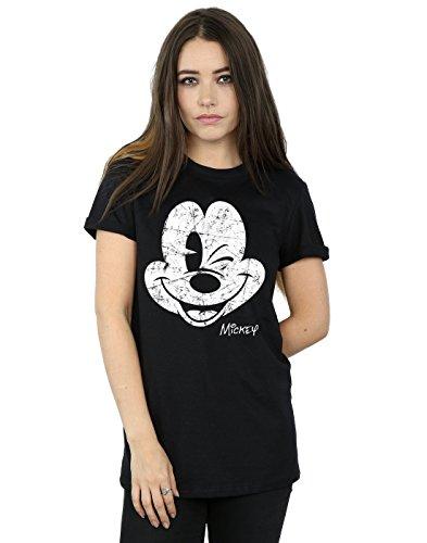Disney Damen Mickey Mouse Distressed Face Boyfriend Fit T-Shirt XX-Large Schwarz (Fit Boyfriend Shirt)