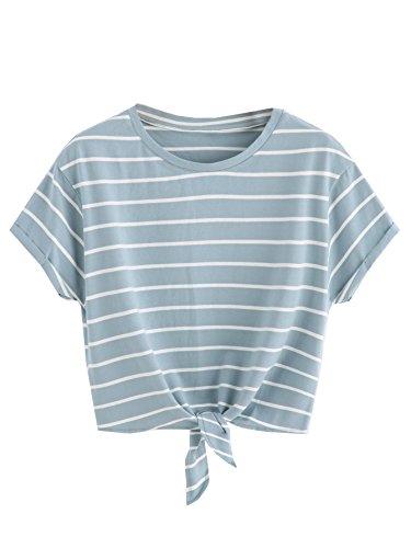 ROMWE Damen Gestreift Crop Top Kurzarm Streifen Shirt Blau S