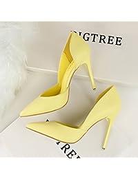 Xue Qiqi Escarpins Astuce simple vide côté orthographe fendue pour chaussures cuir vernis couleur petite chaussures à haut talon femme,36, Rose