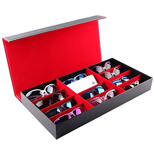 Asdflina Sonnenbrillen Brille Uhren Veranstalter 12-Frame-PU-Brille Speicher Display Box Schmuck Uhr Aufbewahrungsbox Eyewear Aufbewahrungs- und Präsentationsbox (Farbe : A)