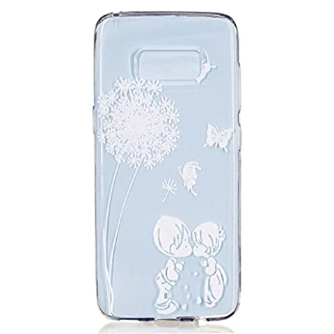 MUTOUREN Samsung Galaxy S8 TPU Silicone Case Cover Soft TPU Case ultra-thin feel good 3D transparent mobile phone shell Transparent TPU soft case Clear TPU Silicone Gel with Cute Patterned Print Cover Skin Soft Case Protective Shock-Absorption anti-scratch case-simple white pattern boy and girl kiss Feather