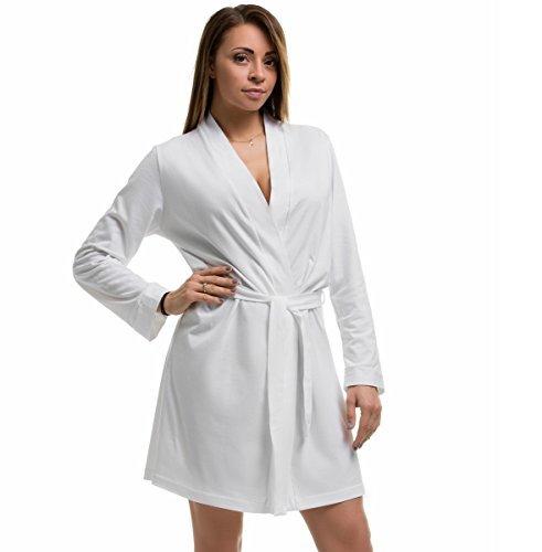 bbbridal Damen weiche Baumwolle leicht Robe Kimono Bademantel SPA Sommer Braut Brautjungfer Plus Größe 8-26 - Weiß, UK 10/12 (Braut Robe Spa)