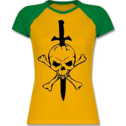 Piraten & Totenkopf - Totenkopf - zweifarbiges Baseballshirt / Raglan T-Shirt für Damen Gelb/Grün
