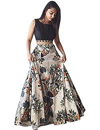Friends deal Fashion Girl's Bangalori Satin Silk Semi-Stitched Lehenga Choli (greeb_011, White, 17-20 Years/Free Size)