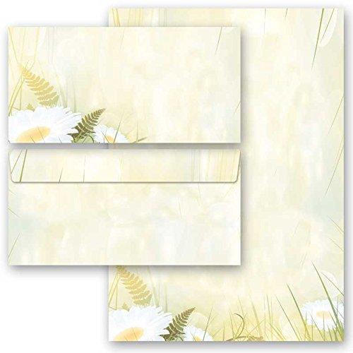 200-tlg. Motivpapier Komplett-Set MARGERITEN 100 Blatt Briefpapier + 100 passende Briefumschläge DIN LANG ohne Fenster