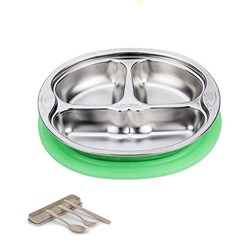LARRY SHELL Edelstahl-Dinner-Platte Tabletys Kleinkind Fütterung gespaltenen Platte Silikon-Sucht Kleinkranz Tablett Kid Plates Diet Food Control Camping Dishes Compact Serving Snack,Green Portion Shell