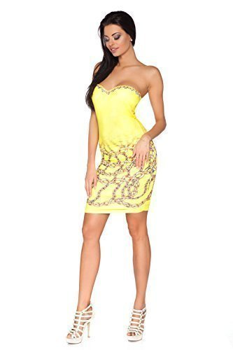 Futuro Fashion Exclusive Collection Mini Robe à sequins Moulant Sans bretelle Imprimé Chaîne FC1398 Jaune