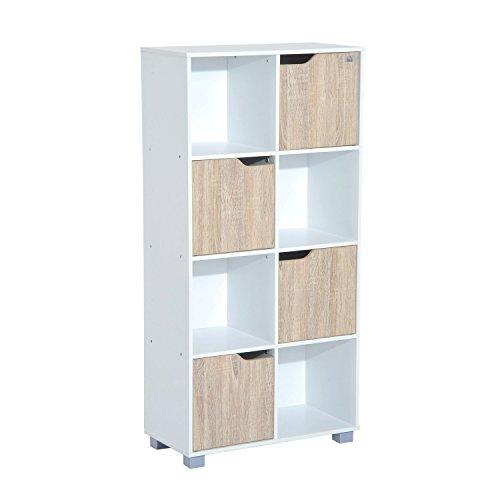 HomCom Estantería Librería Alta para Libros Tipo Biblioteca Organizador Multifuncional - Color Blanco y Roble - 60x30x122cm