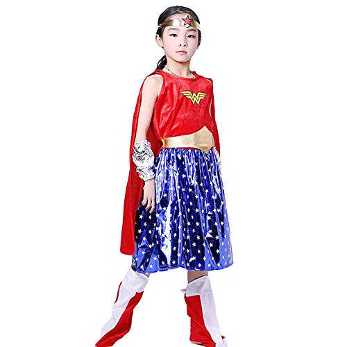 Kleinkind Mädchen Woman Kostüm Wonder - Hope Mädchen Kleinkinder Wonder Woman Kostüm Superheld Film Rollenspiel Kleidung Halloween Birthday Party Karneval Cosplay Outfit,Red-XL (130~140 cm)