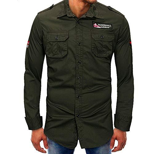 Jiameng bluse e camicie - maglietta da uomo a maniche lunghe con bottoni a maniche lunghe di basemoda maschile camicia a maniche lunghe (xl,verde esercito)