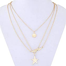 Shining Diva Fashion Gold Metal Multi-Layered Necklace For Girls & Women