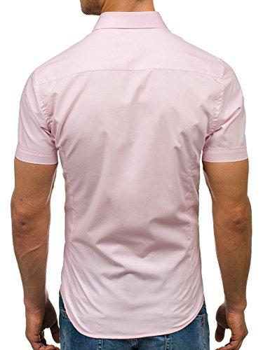 BOLF Herren Freizeithemd Herrenhemd Langarm Slim Fit Hemd 2B2 Casual Rosa