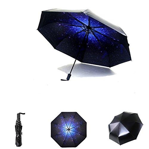 Regenschirm Sonnenschirm Taschenschirm - Regen/Sonne Falten Reise-Regenschirm mit SPF 50+ UV-Schutz winddicht - Faltbar Kompakt und Leicht Parasol Umbrella mit 210T-Teflon für Reise Outdoor