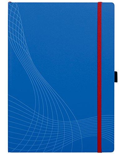Avery 7045 Notizio-Taccuino a quadretti e a righe, colore: grigio a righe, copertina rigida, A4, in plastica, colore: blu