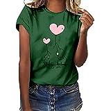 BaZhaHei Donna Maniche Corte,Divertenti Vintage Tumblr Magliette Donna Manica Corte estive Ragazza t Shirt Donna Maglietta Stampata a Maniche Corte Cuore a Maniche Corte da Donna Moda
