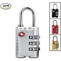 WENDYRAY Candado De 3 Dígitos Combinación TSA Travel Lock Set Locker Lock Reposicionable Combo Lock Gym School Locker para Cerrojo De Cerca Al Aire Libre Y Almacenamiento