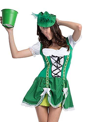 Oudan Damen Bayerische Oktoberfest Bier Maid Mini Kostüm Kostüm mit Hut (Farbe : Grün, Größe : M)