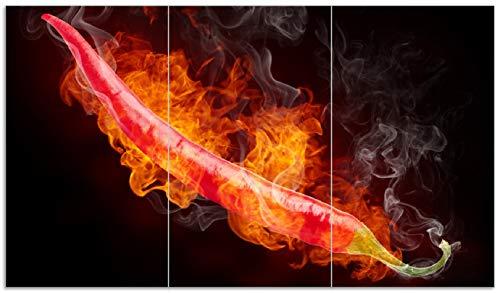 Den Heißen Herd (Wallario Herdabdeckplatte/Spritzschutz aus Glas, 3-teilig, 90x52cm, für Ceran- und Induktionsherde, Heiße, brennende Chili-Schote vor schwarzem Hintergrund)