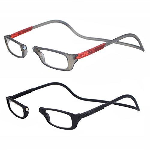 leser tragbare verstellbare front connect erweiterbar lesebrille herum hals (2.75X, grau und schwarz)