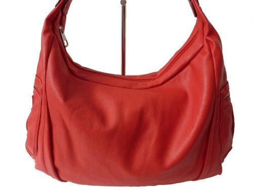 Linda' 0259 große Damen Tasche, Schultertasche in 6 Farben 37x30x17 rot red