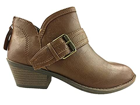 LADIES COWBOY FAUX LEATHER PULL ON ANKLE BOOTS BACK ZIP