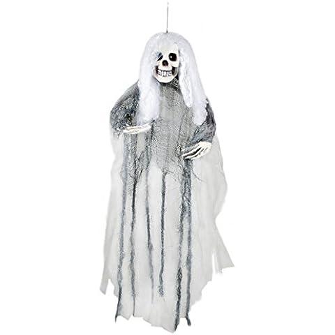 Flying Ghost Bride habitación Scary Halloween Party Decoración de techo colgantes Señora esquelética Haunted House Gris Día Robe de los muertos spooky