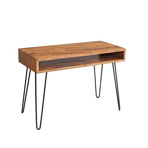 Riess Ambiente Retro Schreibtisch Scorpion 100cm Sheesham Holz Stone Finish Massivholz Holztisch Metallgestell Hairpin Legs -