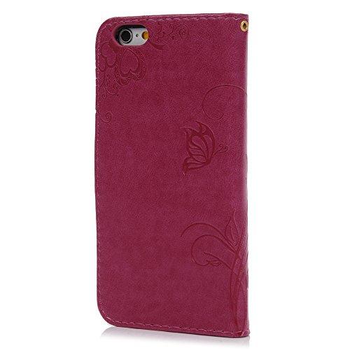 MAXFE.CO Lederhülle Leder Tasche Case Cover für iPhone 6/iPhone 6SHülle PU Prägung Muster Schutzhülle Flip Cover Wallet im Bookstyle mit Standfunktion Karteneinschub und Magnetverschluß-Grau Rose Rot