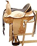 Baumloser Westernsattel KANSAS Eco aus Büffelleder Neu, Größe:16 Zoll - 2