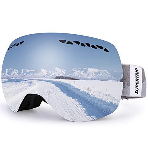 Supertrip Skibrille Damen Herren Snowboardbrille OTG verspiegelt Ski-Schutzbrillen 100% UV400 schutz für Brillenträger Antifog (Grau Revo Silber (VLT 16%))