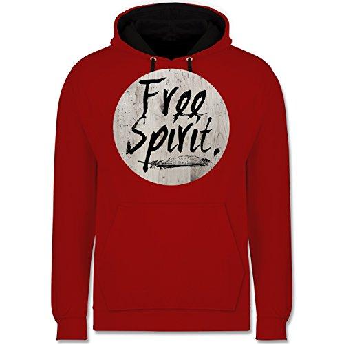 Statement Shirts - Free Spirit - Kontrast Hoodie Rot/Schwarz