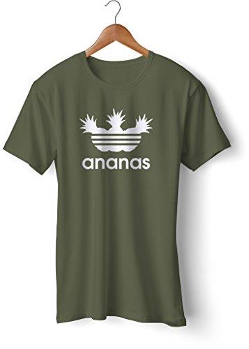 Fashion T-Shirt bedruckt, 190g mit Seitennaht, Fun Druck ananas Oliv-Weiß